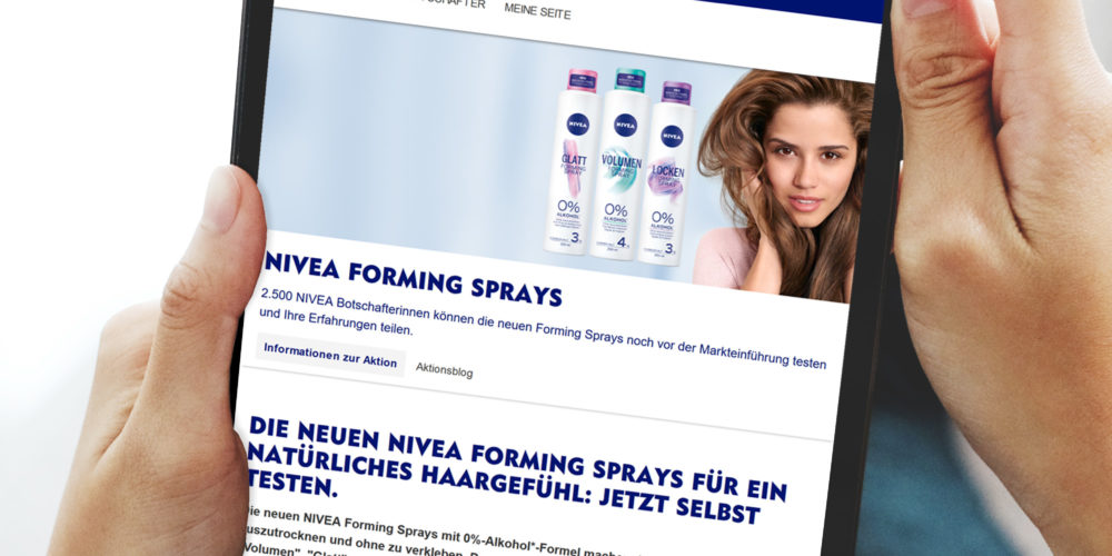 Tablet: Nivea forming sprays