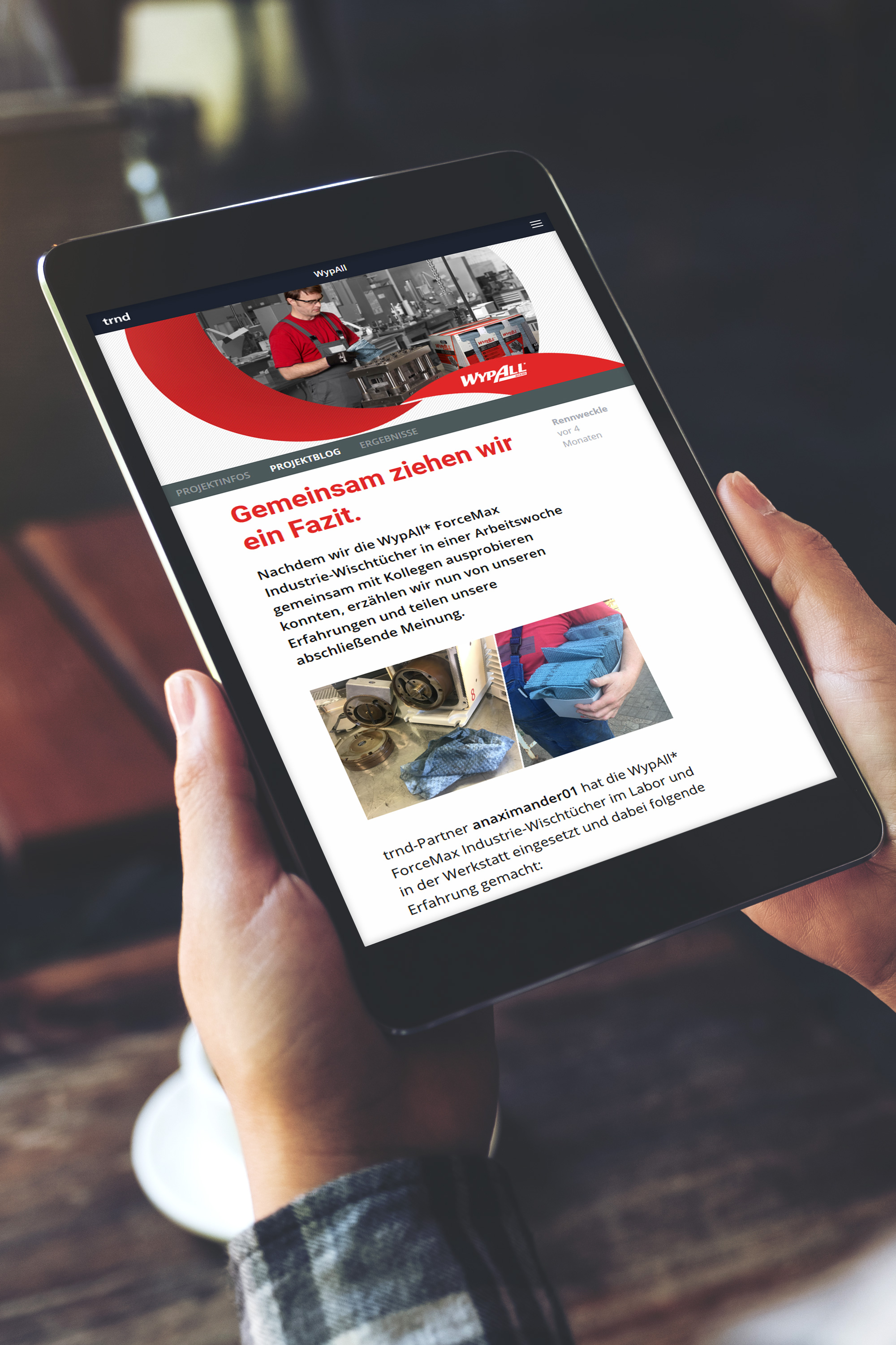 iPad screen with an article about WypAll ForceMax industrial wipes