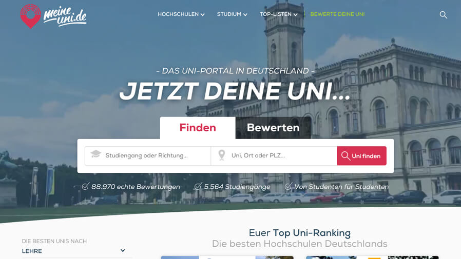 Marketing-Banner: MeineUni.de - Das Uni-Portal in Deutschland