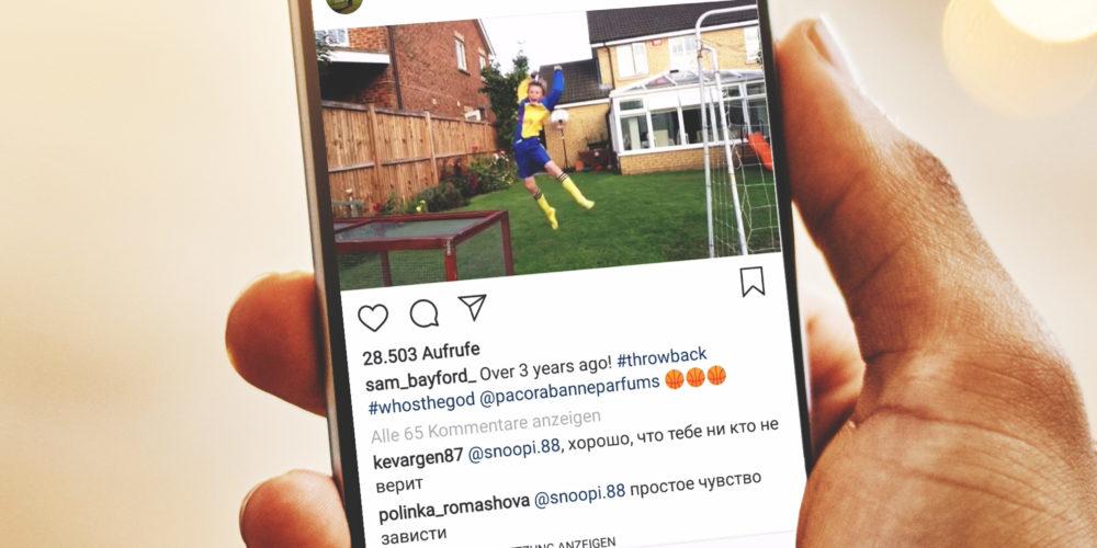 Instagram-Beitrag: whosthegod-Trickshot-Challenge für den Duft Paco Rabanne Invictus