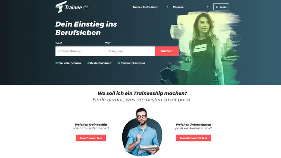 Advertising banner of Trainee.de: Dein Einstieg ins Berufsleben