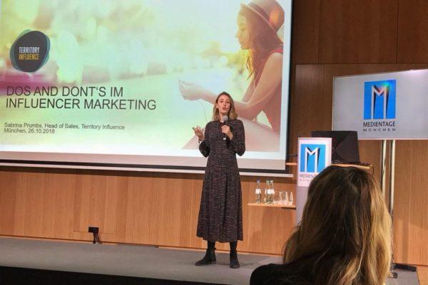 Sabrina Prumbs on stage of Media Days 2018 in Munich